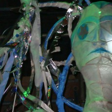 Paper mache puppet at night