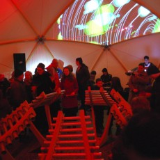 Digital projections inside canvas & wood dome structure