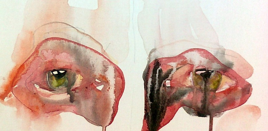 Watercolour painting of two eyes