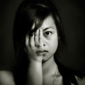 Artistically manipulated photo of womans face