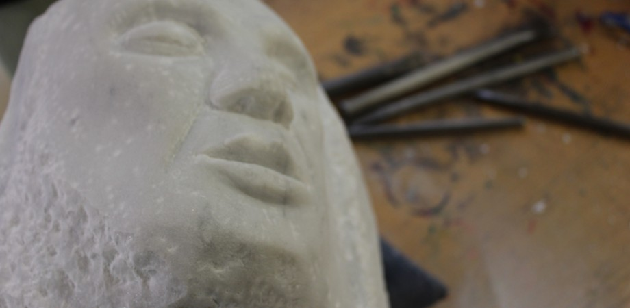 Face carved out of stone