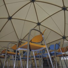 Rows of chairs inside Dome structure