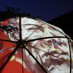 Mik Godley projects drawing onto skin of City Arts Dome