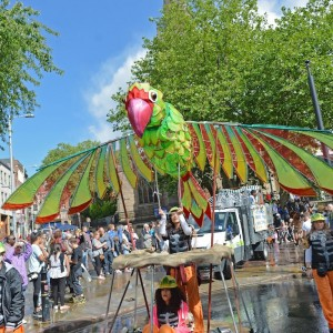 Giant bird puppet in Nottingham City centre