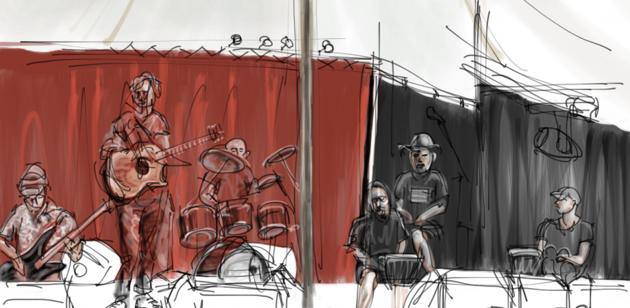 Painting of band, by Mik Godley
