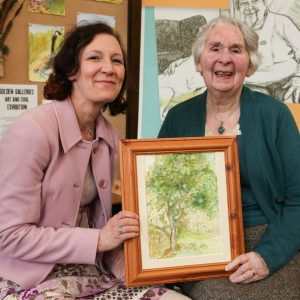 Artist Winifred Spoor with her daughter Catherine Spoor at Abbeyfield's Golden Gallery Art & Soul exhibition at Beamish Museum, County Durham.