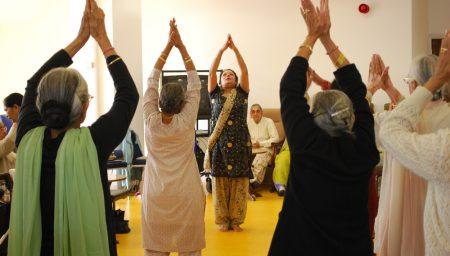 Group of older people dancing