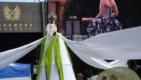 Girl in huge, flowing white costume