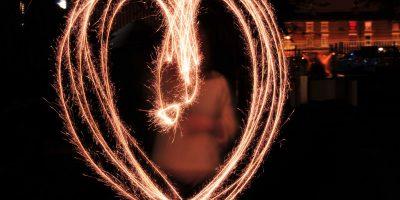 Heart shape drawn in light