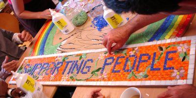 Group work on a mosaic