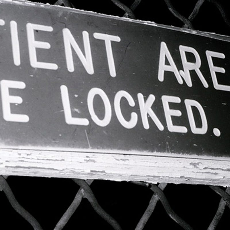 Patient Area Keep Gate Locked, 2011, by Susan Spangenberg