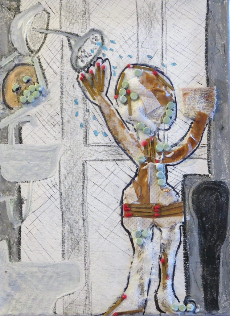 Shower On The Psych Ward 12 x 16 mixed media on canvas 2015 by Susan Spangenberg