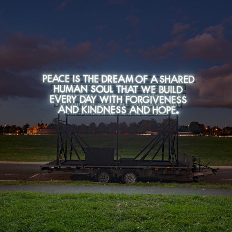 Illuminated poem by artist Robert Montgomery