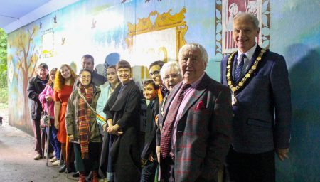Dignitaries and project participants with the new Arnot Hill Park
