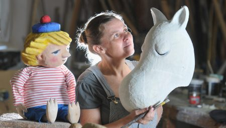 Alison Duddle with Moomin Puppets