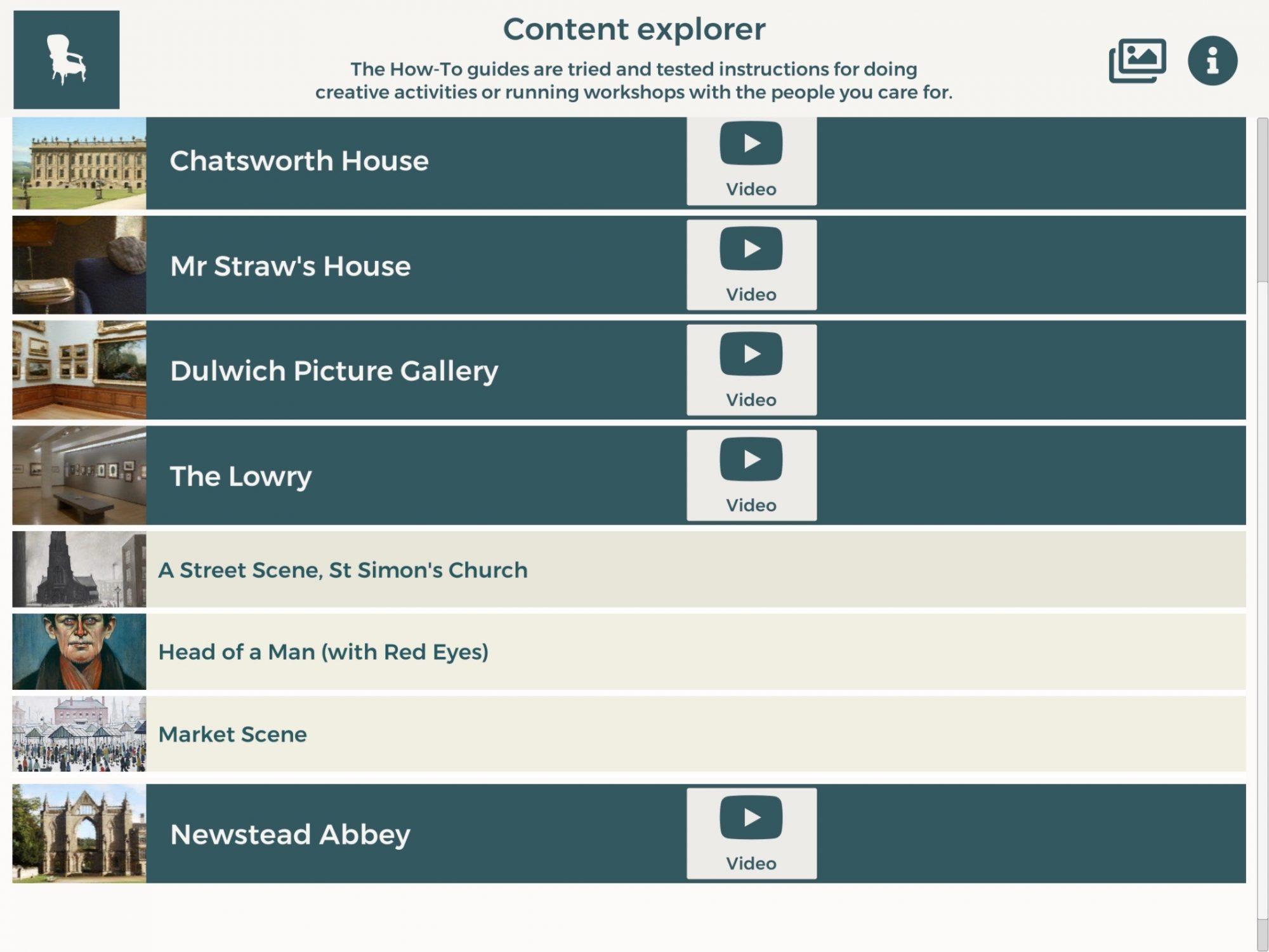 Choosing an artefect in the Armchair Gallery 'Content Explorer'
