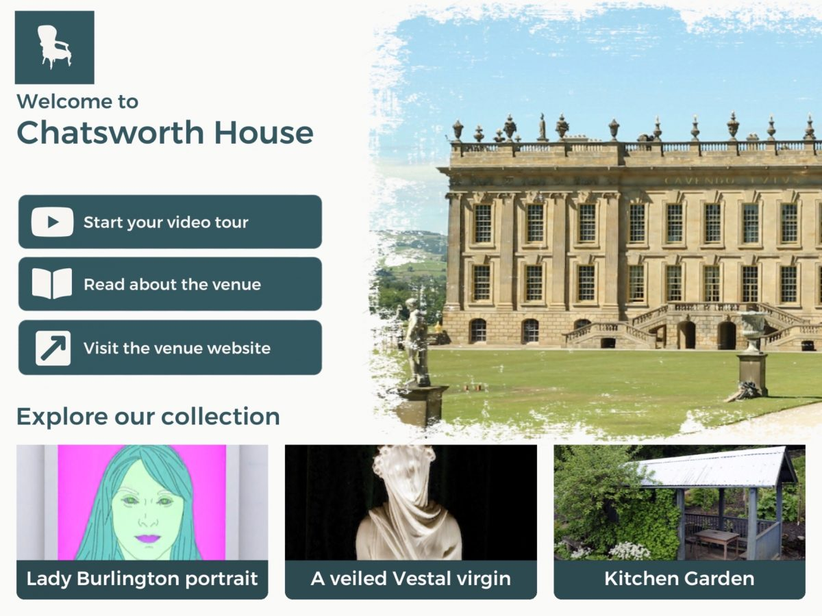 Sceenshot of the Chatsworth House section of the app