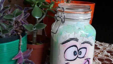 Sourdough starter in decorated jar