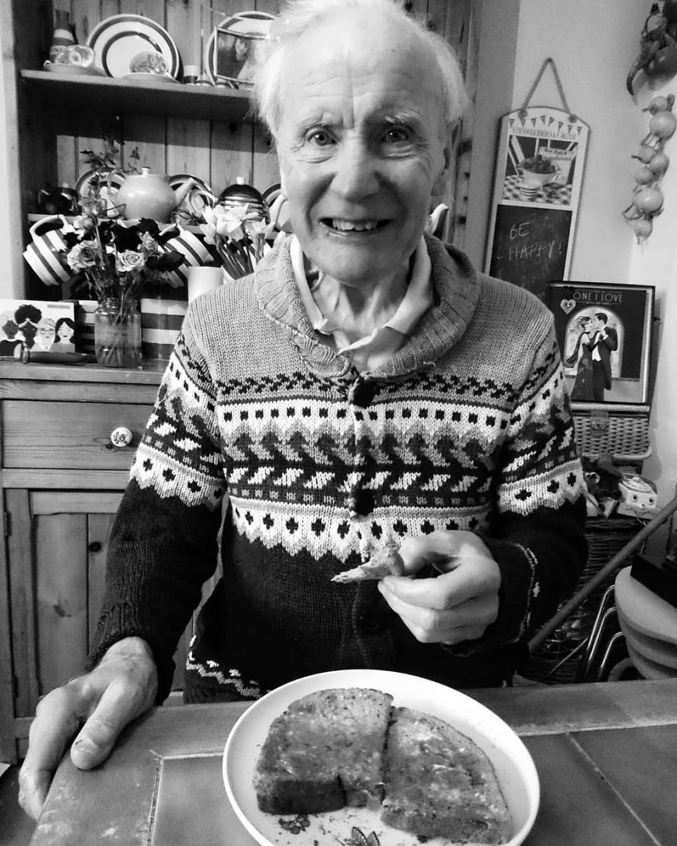 Grace Edens father eating toast