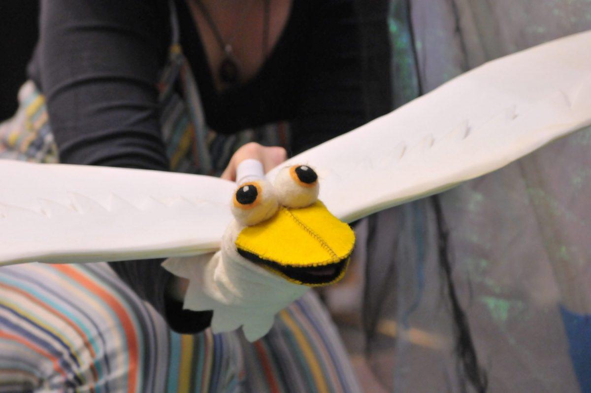 A bird puppet