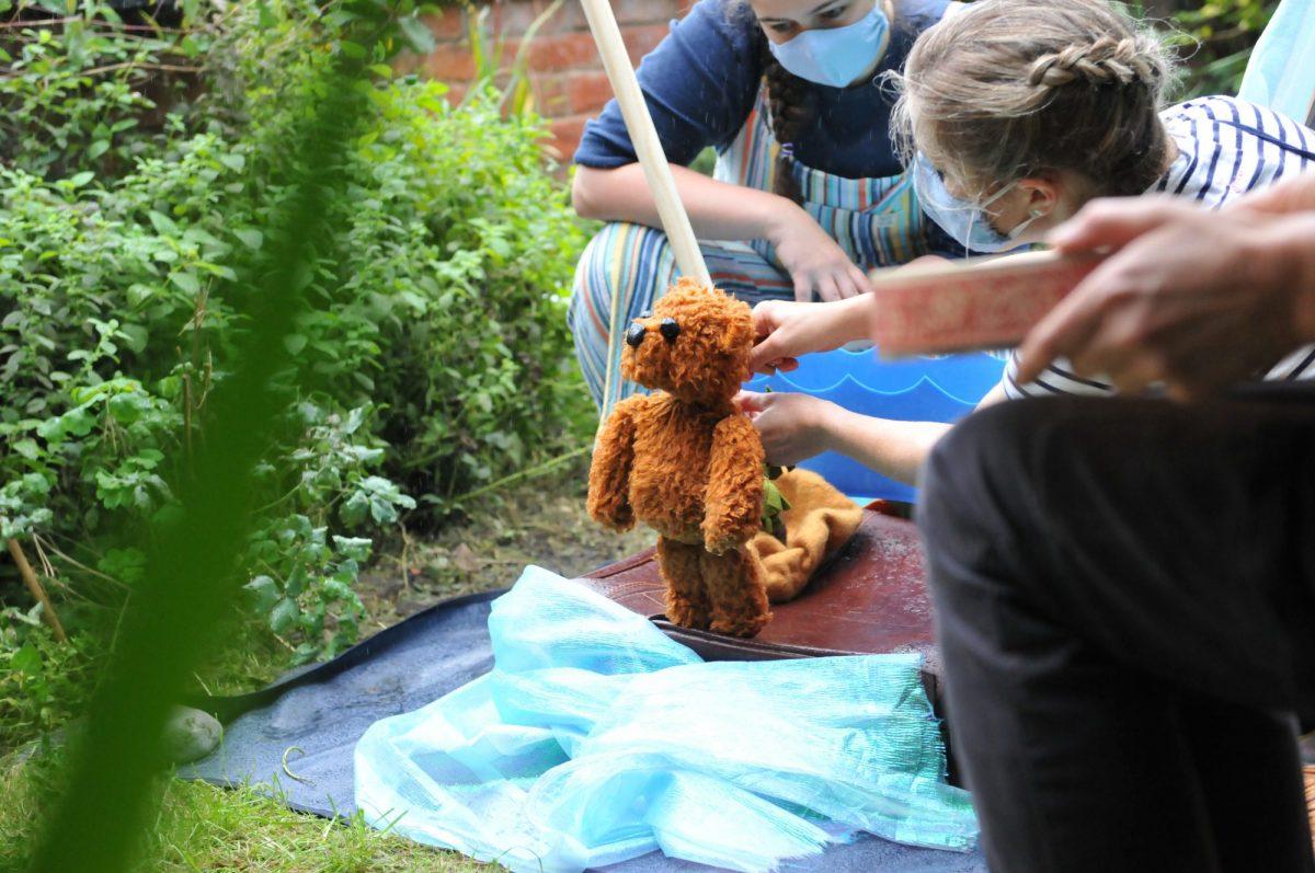 Teddy bear puppet in a garden
