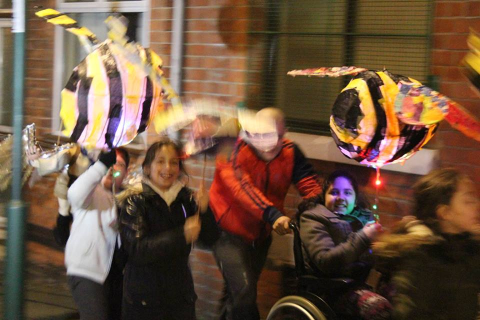 Young people holding lanterns at Nottingham Light Night