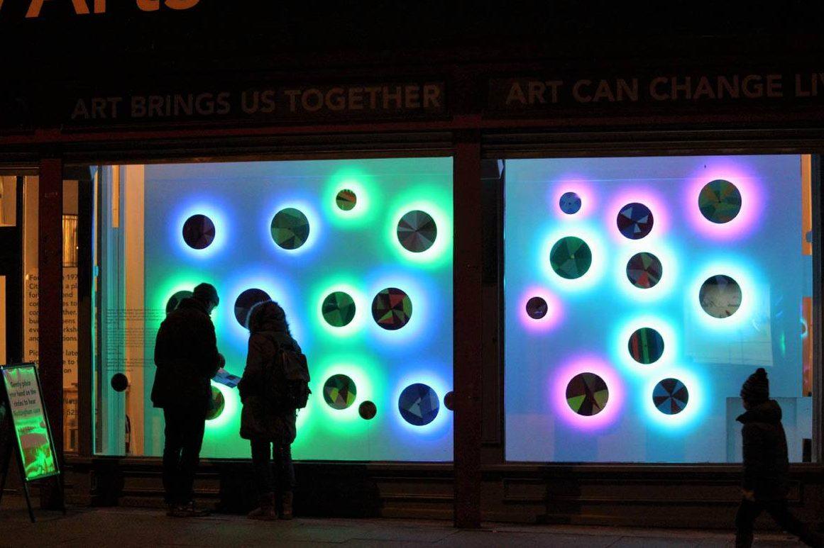 Light-based art installation at City Arts (Nottingham)