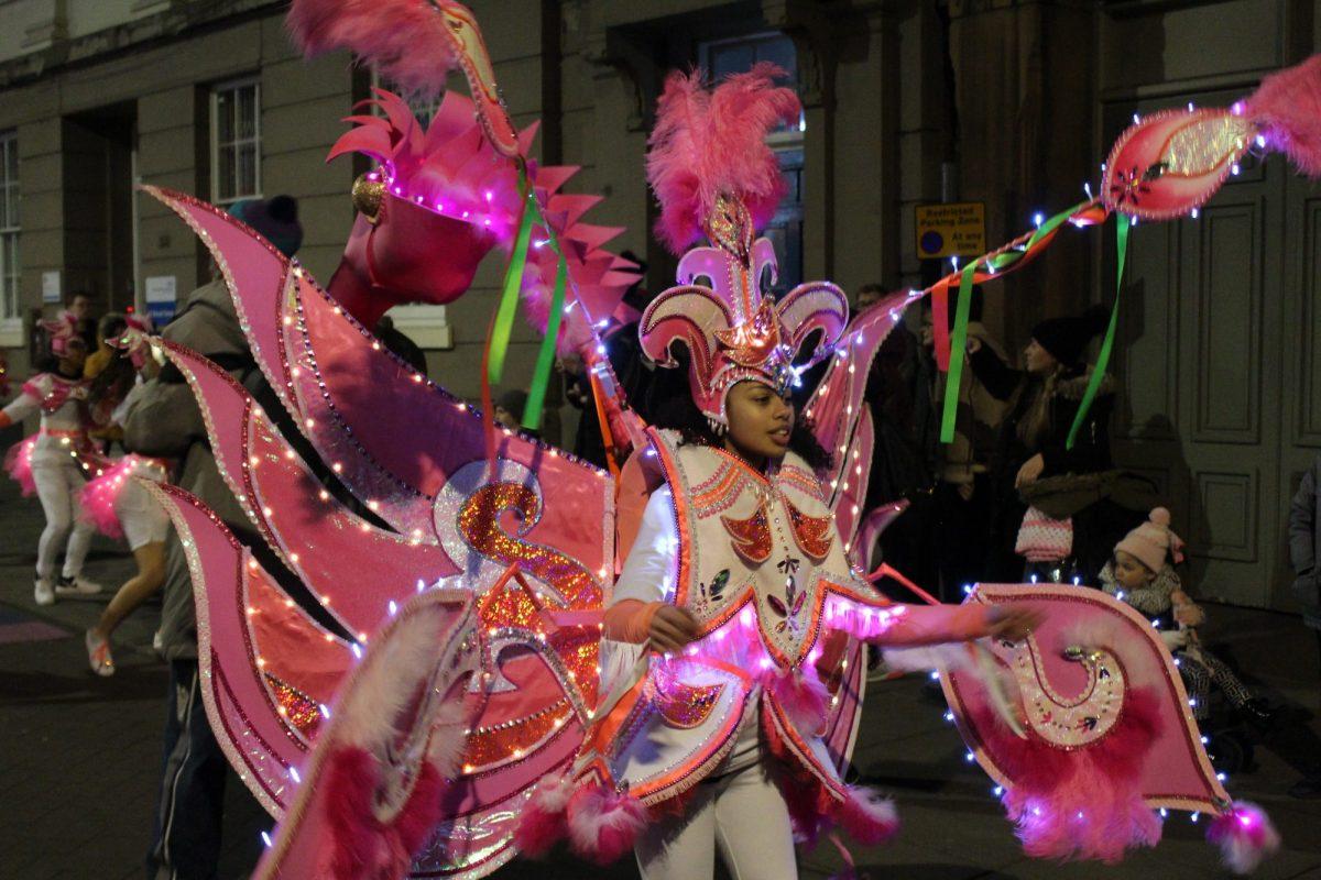 Caribbean carnival costume at Nottingham Light Night