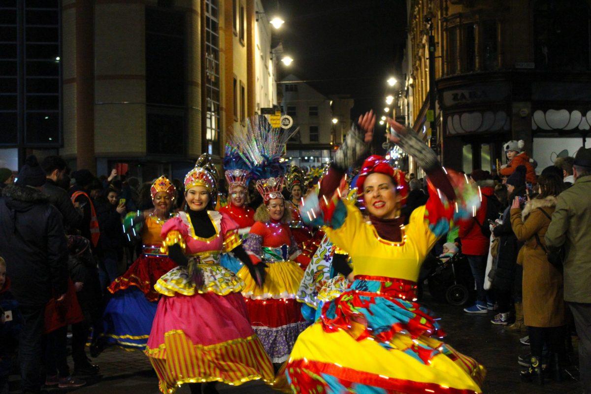 Brazilian carnival dancers at Nottingham Light Night