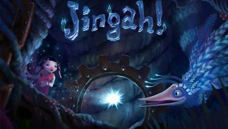 JINGAH - Illustration of a child and a bird-like creature in jungle at night