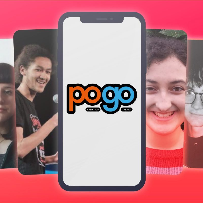 PoGo app graphic showing the faces of featured young poets
