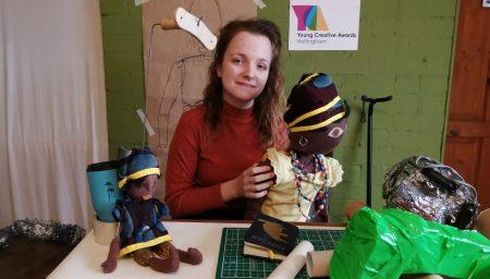Nikki Charlesworth holding a puppet