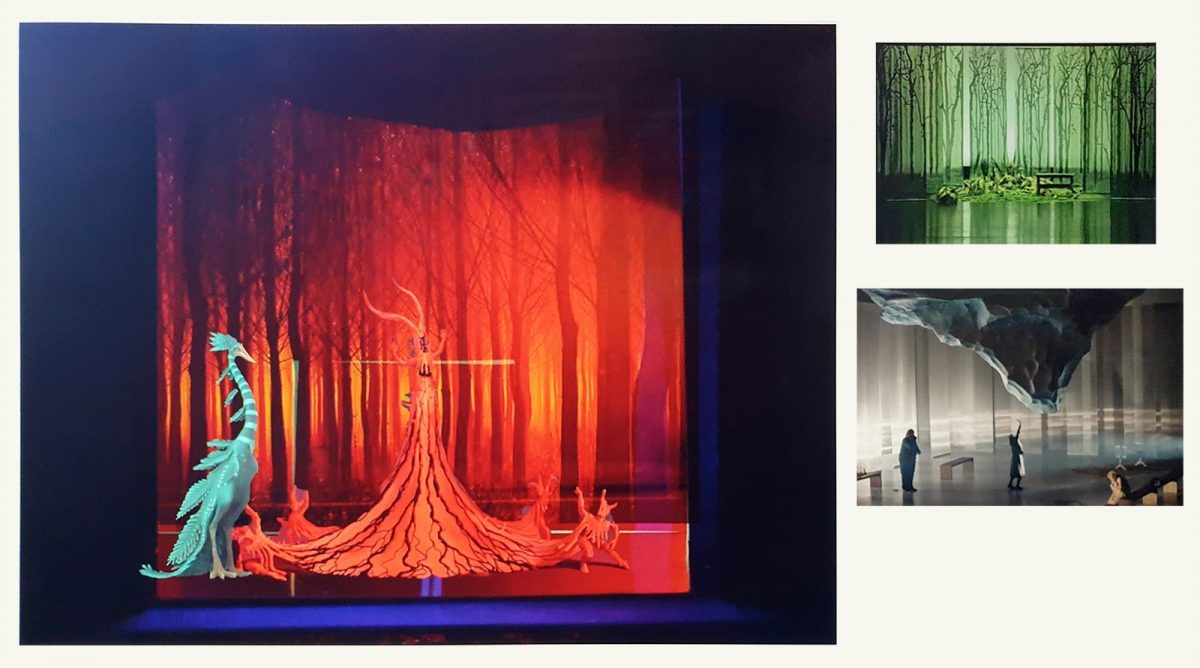 A moodboard featuring three theatrical scenes