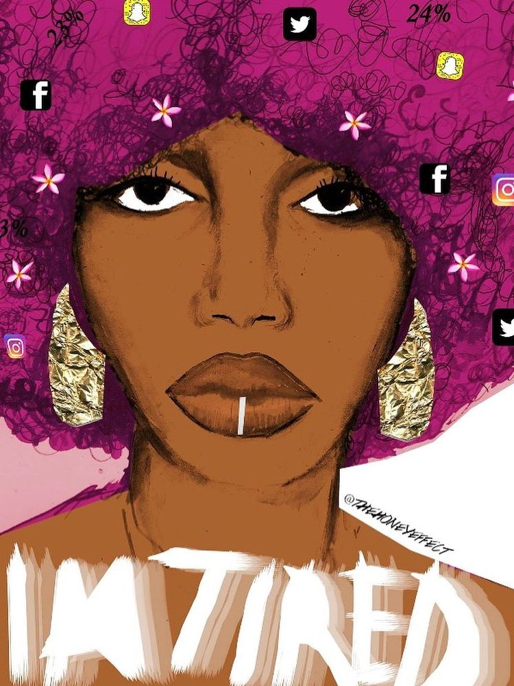 I'm tired. Artwork by Honey Williams. Illustration of a woman with social media icons in her hair.