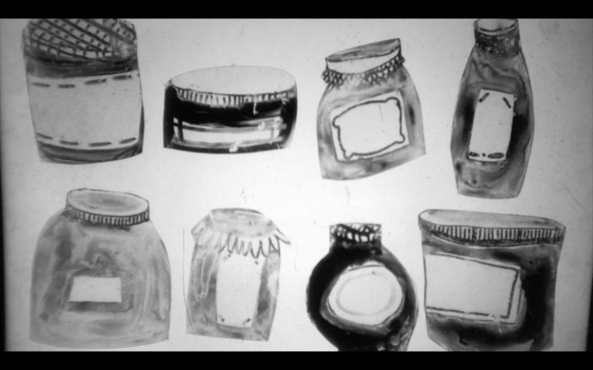 illustration of multiple jam jars, projected