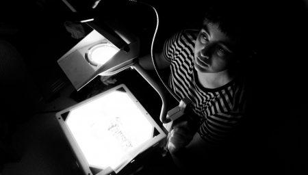 Megan Rose using an overhead projector