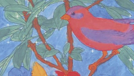 Colour drawing of a bird sitting on a branch