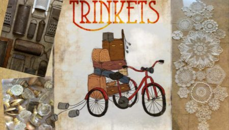 Extract from Trinkets poster - illustration of a tricycle with boxes and cases on it