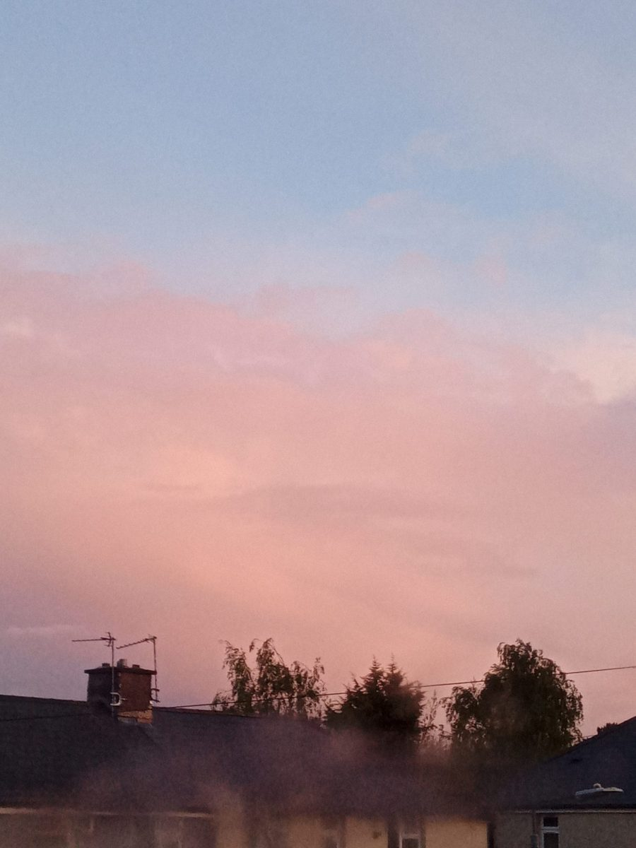 Red sky over rooftops