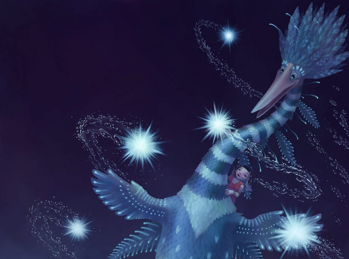 A giant bird, Patrick Poppywopple, is flying through the night sky, carrying a small creature, Rosie on his back