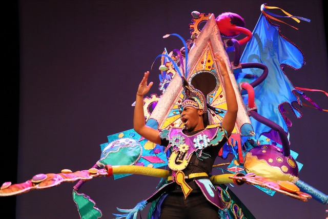 Yong man wearing a carnival costume on stage.